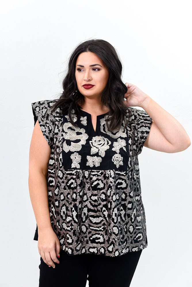 Romantic Theories Black/Champagne Embroidered/Leopard Sequins Top - B9362BK
