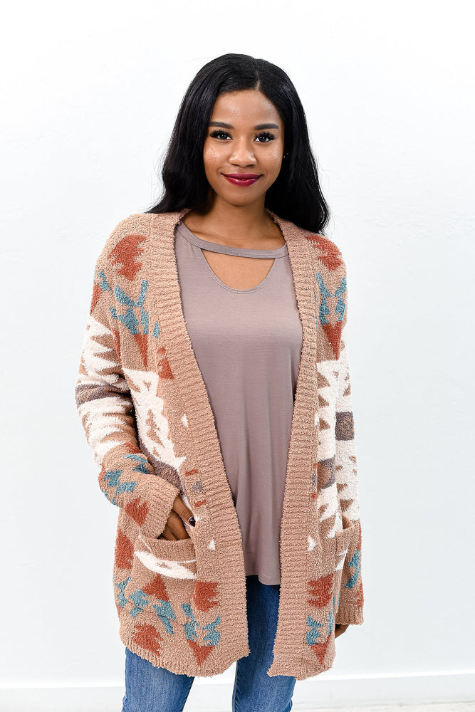 She's Like A Winter Storm Camel/Multi Color Tribal Printed Cardigan - O2690CA