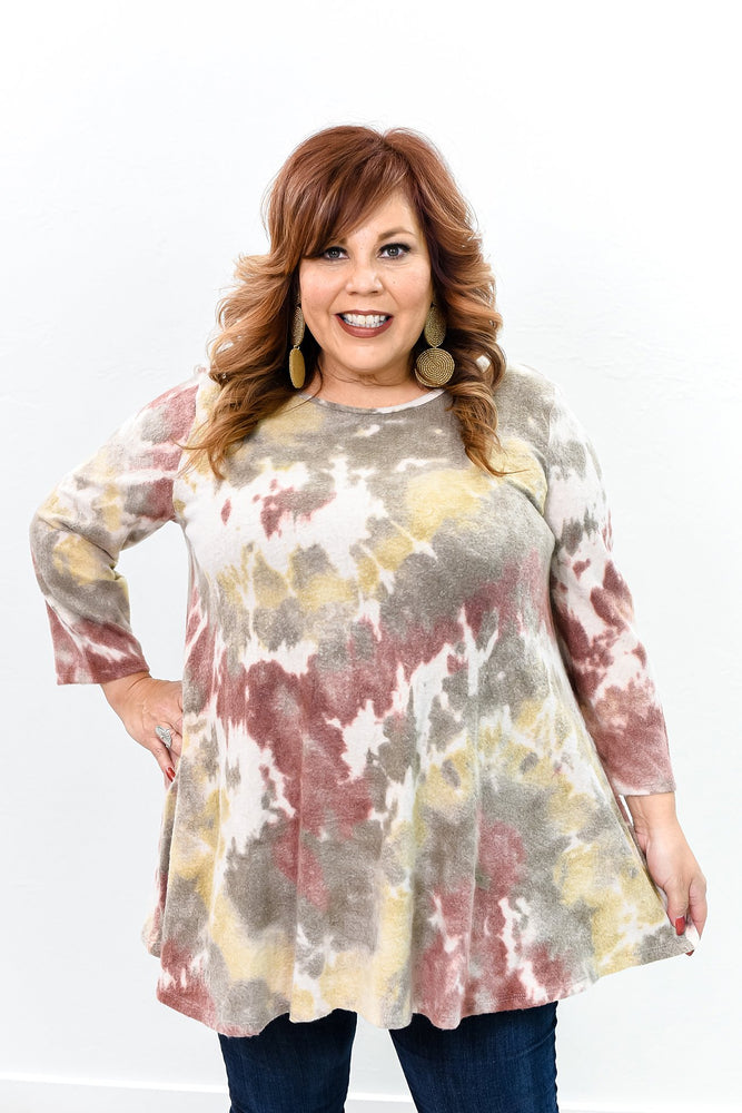 Enjoying My Life To The Fullest Burgundy/Multi Color Tie Dye Top - B10012BU