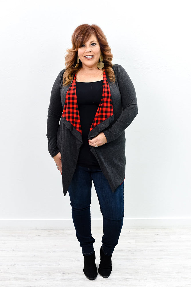 On My Wish List Charcoal Gray/Red Plaid Asymmetrical Kimono - O2853CG