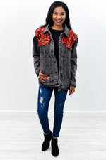 Work Your Angles Black/Red Denim Sequin Jacket - O2689RD