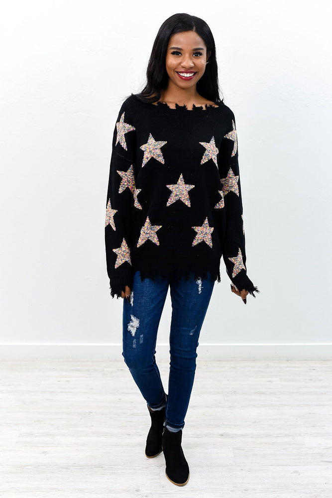 I've Got Star Power Black/Multi Color Star Printed Sweater Top - B9360BK