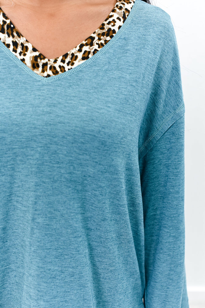 You've Had Your Chance Heather Teal Leopard High-Low Top -B9364HTE