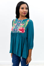 My Vision Is Clear Teal/Multi Color Embroidered High-Low Top - B9363TE