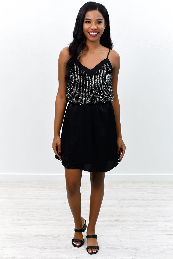 Start The Show Black/Silver Sequins V Neck Dress - D3575BK