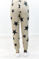 Live Amongst The Stars Oatmeal/Black Star Printed Joggers - PNT1149OA