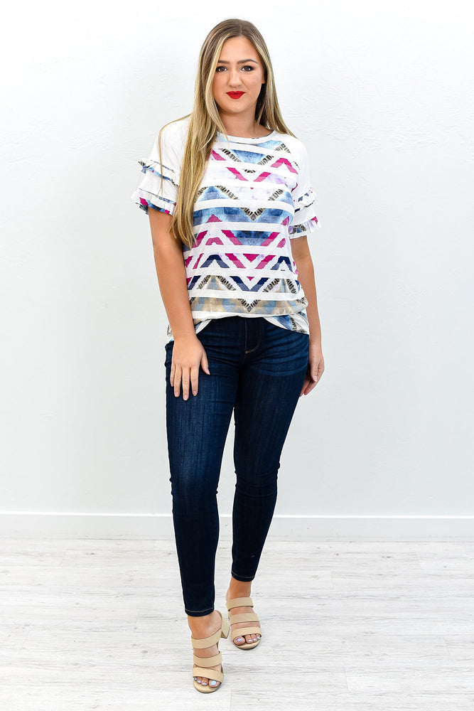 Be A Leader Not A Follower Ivory/Multi Color/Patterns High-Low Top - T192IV