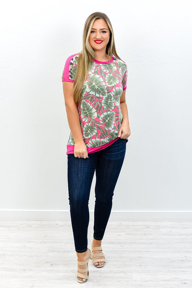 Remote Island Getaway Fuchsia/Green Palm Tree/Leopard Top - T198FU