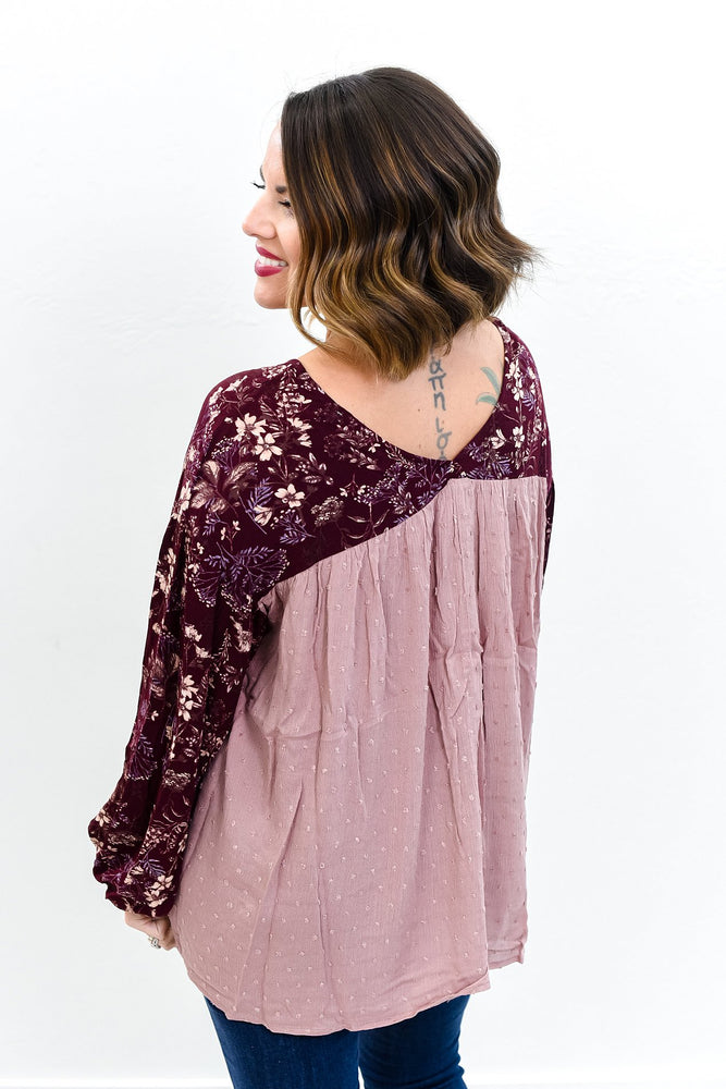 Stylist's Pick Burgundy/Mauve Floral Top - B10525BU