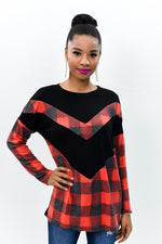 Layered With Happiness Red/Black Plaid/Chevron Top - B9929RD