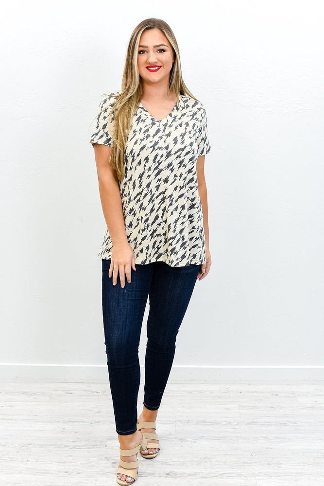 Certain As The Sun Charcoal Gray/Taupe Printed Top - T216CG
