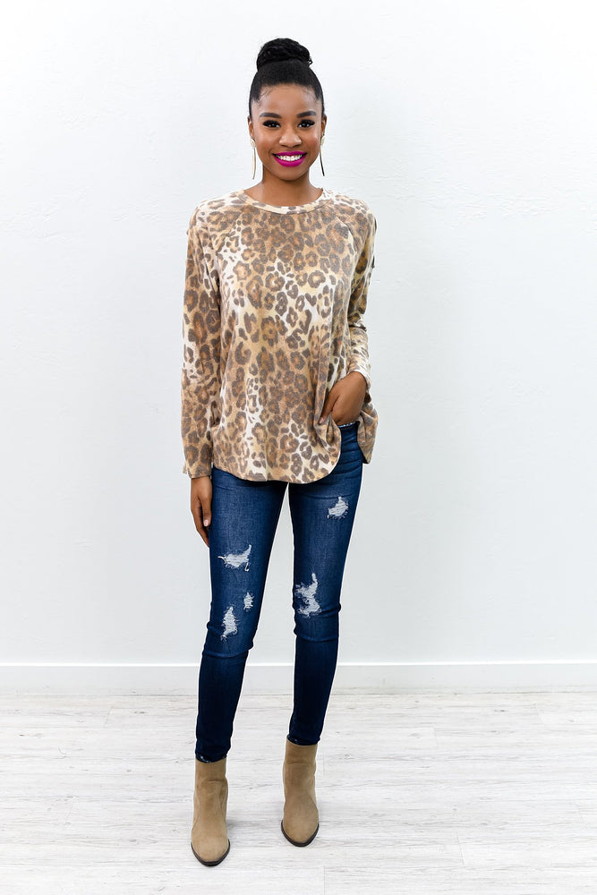 Just A Dream Taupe/Brown Leopard Open Shoulder Top - B9985TA