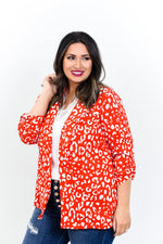 Taking Over The World Red/Ivory Leopard Blazer - O2996RD