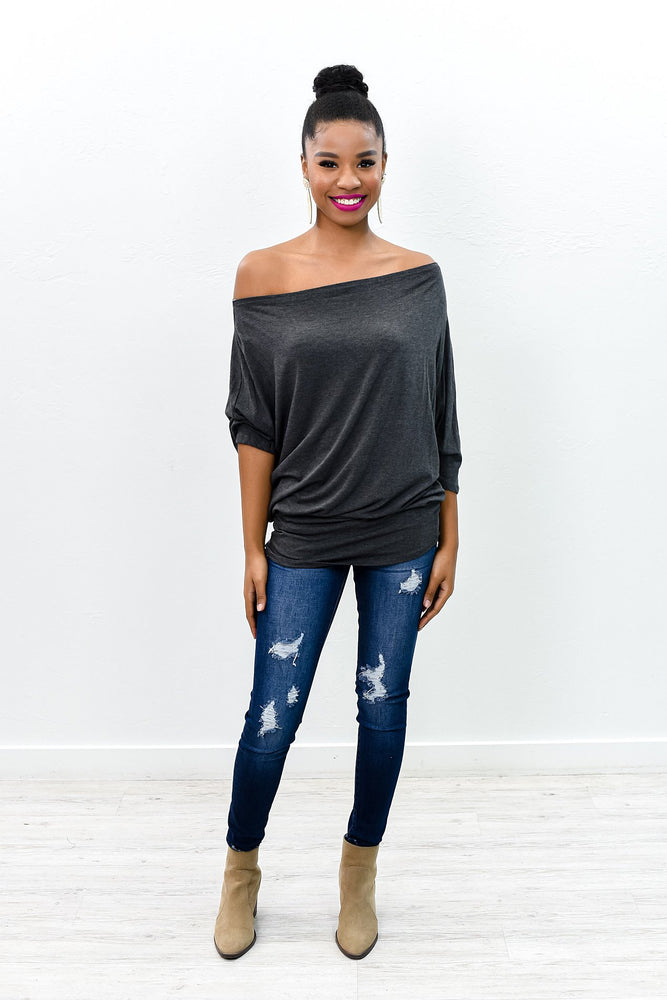 Show Me The Way To Your Heart Charcoal Gray Off The Shoulder Top - B9083CG