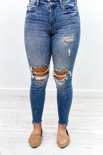 Shred Over Heels Medium Denim Distressed Jeans - K496DN