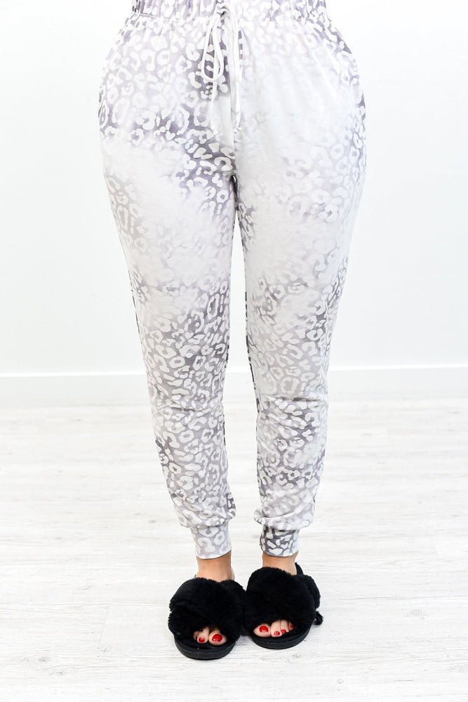 New Day New View Gray/Ivory Leopard Pant - PNT1169GR