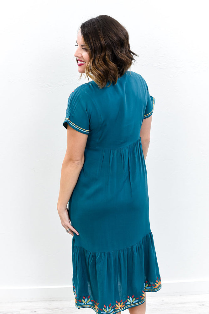 I Don't Have Much But I Have You Teal/Multi Color Embroidered Dress - D3650TE