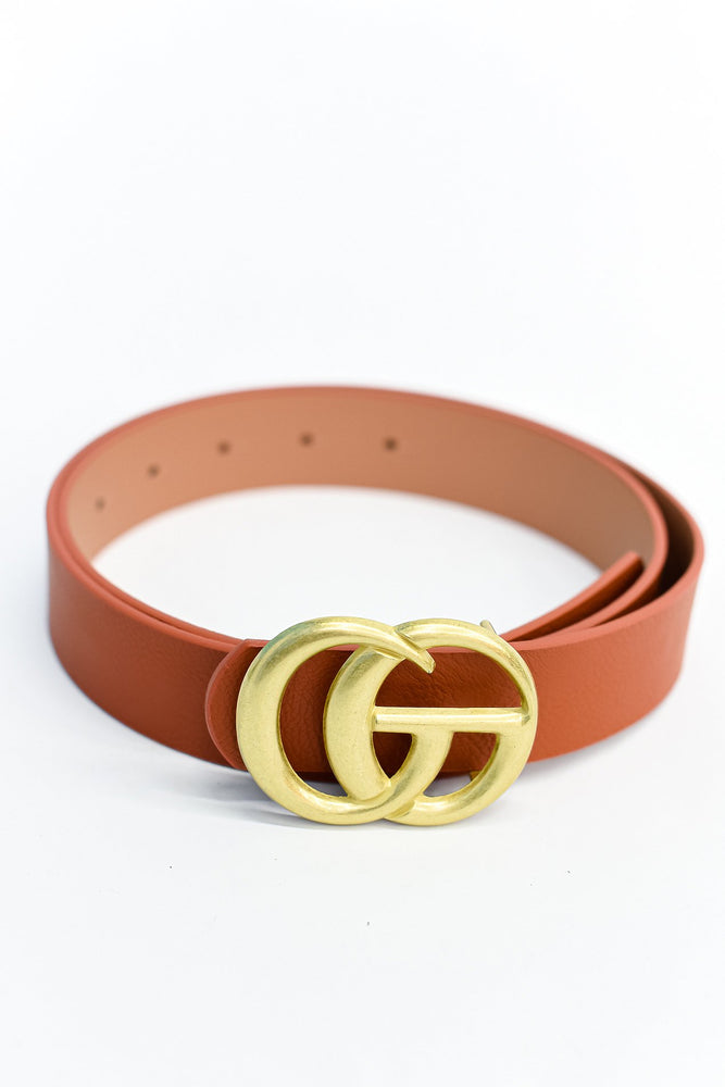 Cognac/Antique Gold Belt - BLT1124CN