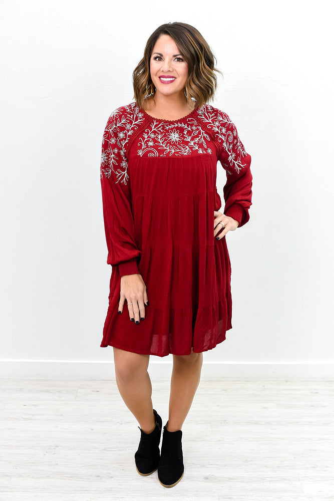Give Us A Spin Burgundy Floral Embroidered Dress - D3624BU