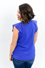 Spring In Manhattan Royal Blue Polka Dot Peekaboo Top - B10514RBL