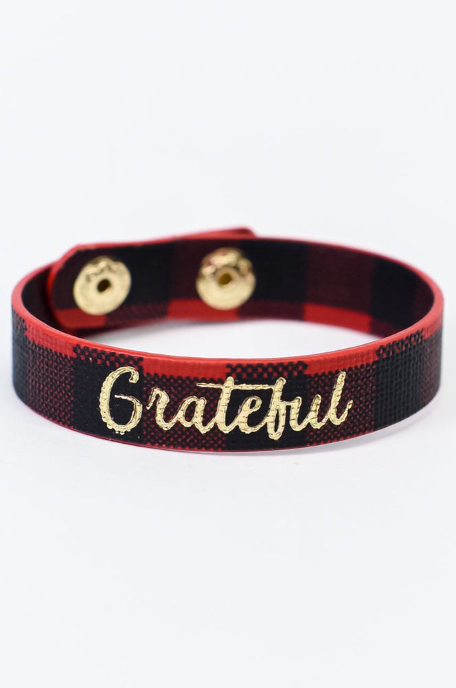 'Grateful' Red/Black Plaid Snap Bracelet - BRC2935RD