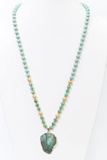 Jade Stone Pendant Crystal/Beaded Necklace - NEK3665JD