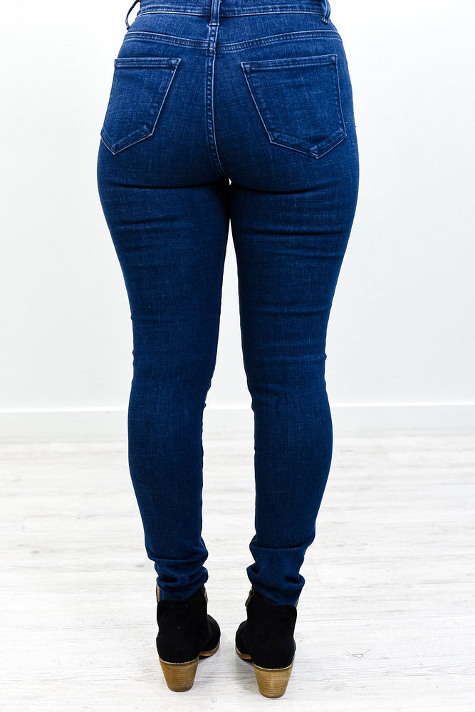 Top Floor Of The High Rise Dark Denim Jeans - K596DN