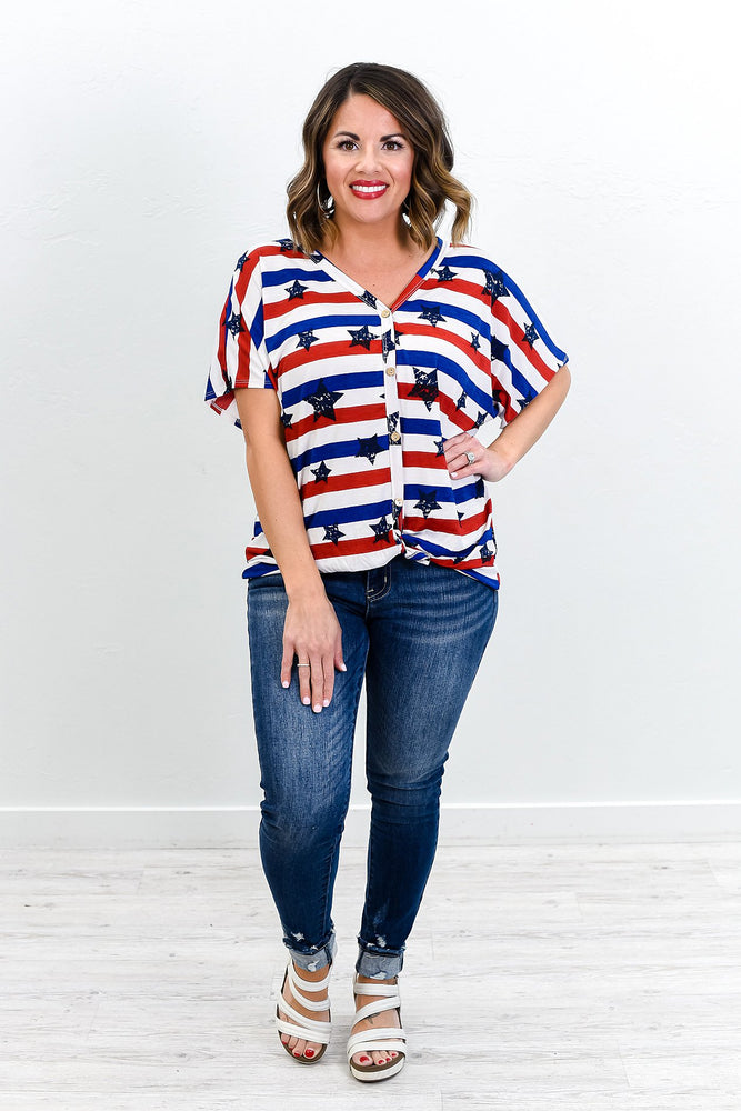 Biggest Blessing Navy/Red Star Printed Front Tie Top - T257NV