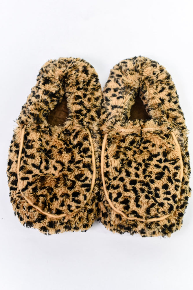 Leopard Fuzzy Microwavable Slippers - BTY055LE