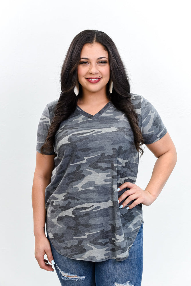 Mind Over Matter Charcoal Gray Camouflage V Neck Top - B10555CG
