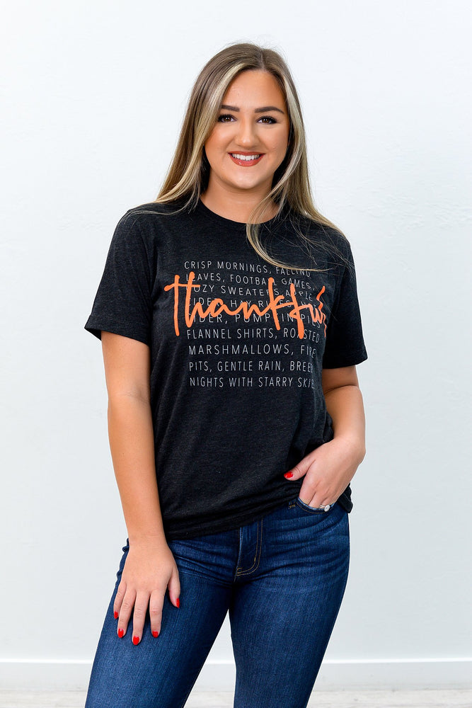 Thankful Charcoal Black Graphic Tee - A780CBK
