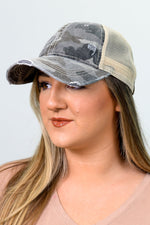 Gray Camouflage/Beige Distressed Trucker Hat - HAT1181GR