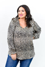 Live Your Best Life Oatmeal Leopard V Neck Top - B9436OA