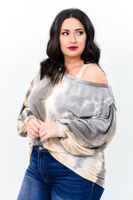 Speak Your Truth Gray/Multi Color Tie Dye Off The The Shoulder Top - B9433GR