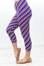 Blue/Red/White Stripe/Star Capri Printed Leggings (Sizes 4-12) - LEG2803BL