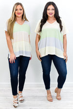Catch You Later Green/Multi Color/Multi Pattern Colorblock Top - T274GN