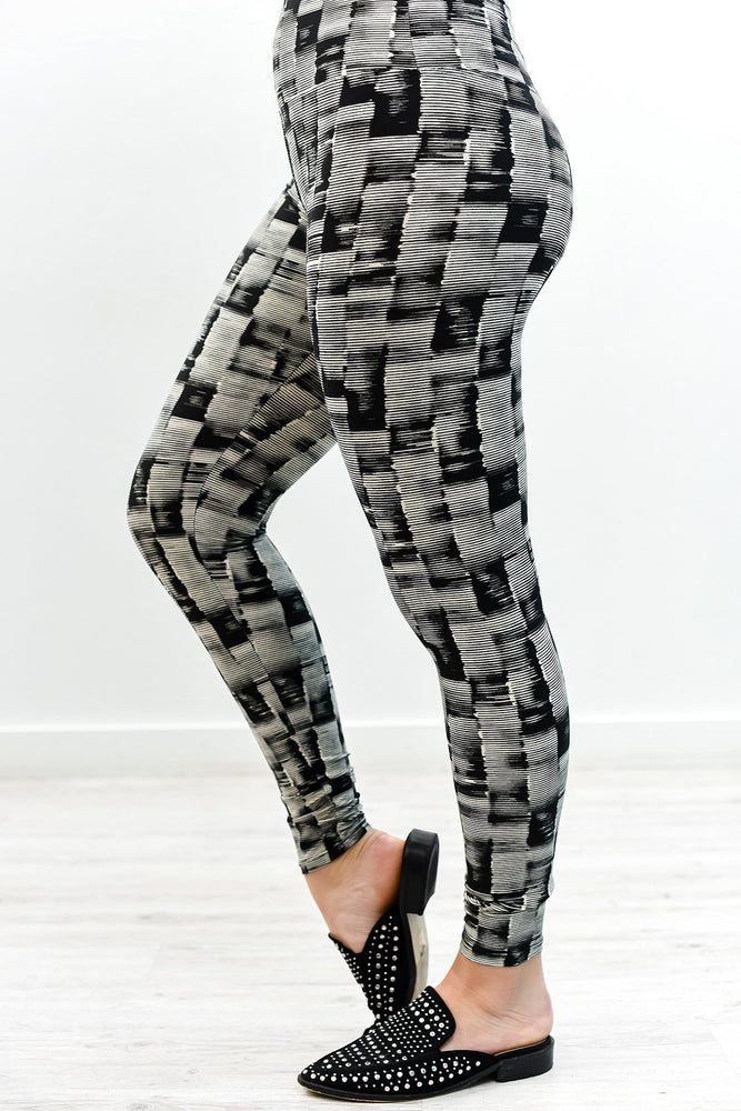 Black Wide Band Printed Leggings (Size 4-12) - LEG2705BK