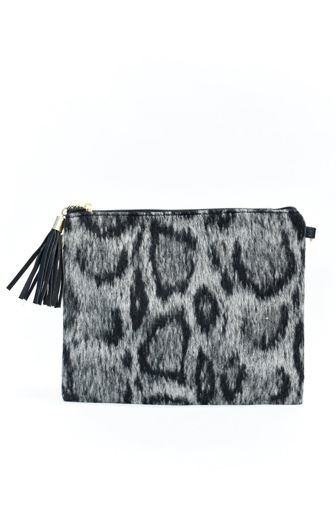 Your Mine Charcoal Gray Leopard Printed Furry Bag - BAG1417CG