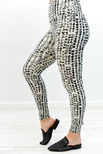 Ivory/Black Wide Band Printed Leggings (Size 4-12) - LEG2707IV