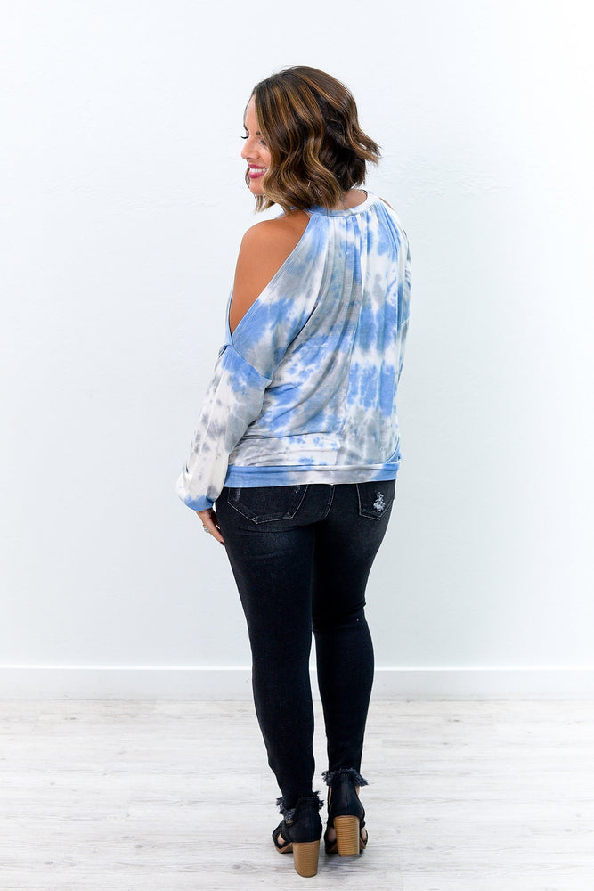 Nothing But Good Vibes Blue/Gray Tie Dye Open Shoulder Top - B9203BL