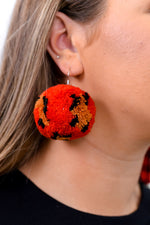 Red Leopard Pom Earrings - EAR3111RD