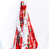 Red/Green/White Plaid Fabric Tassel/Faceted Beaded Necklace - NEK3599RD