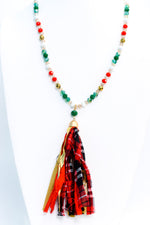 Green/Multi Color Multi Pattern Fabric Tassel/Faceted Beaded Necklace - NEK3600GN