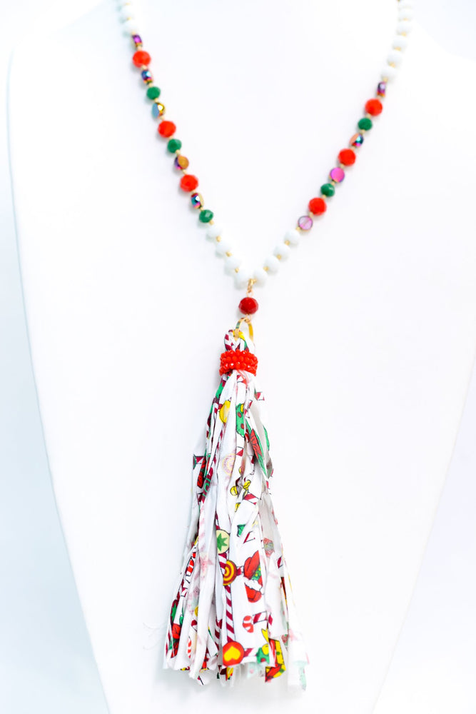 White/Multi Color Christmas Fabric Tassel/Faceted Beaded Necklace - NEK3598WH