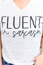 Fluent In Sarcasm White Marble V Neck Graphic Tee - A1237WH