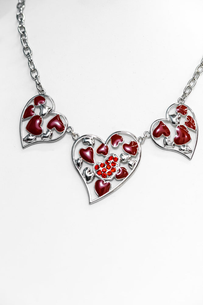 Silver/Red Triple Heart Statement Necklace - NEK3639SI