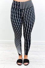 Black/Charcoal Gray/Ivory Striped Compression Wide Band Leggings - LEG2876BK