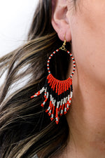 Red/Black/White Teardrop Seed Bead/Tassel Earrings - EAR3192RD