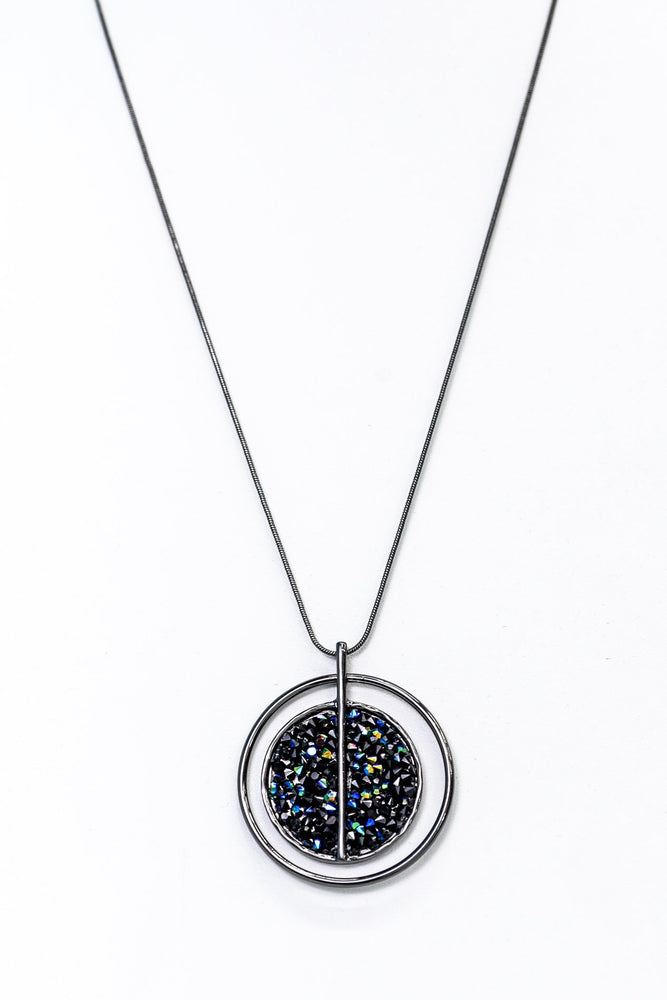 Black/Multi Color Crushed Crystal Circle Pendant Necklace - NEK3645BK
