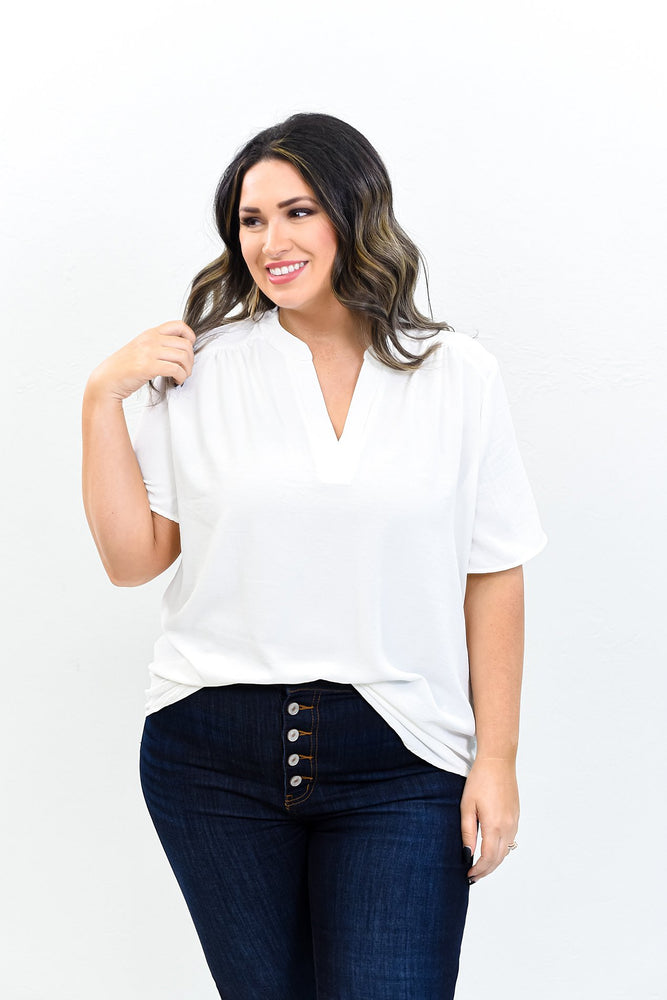 Sunshine Is The Best Medicine Ivory Solid V Neck Top - B10606IV